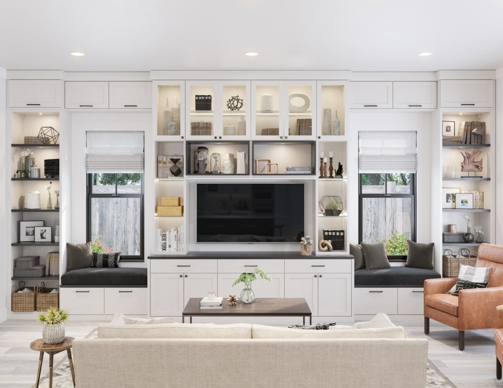 Great Room Washed White With Dakota Black Accents