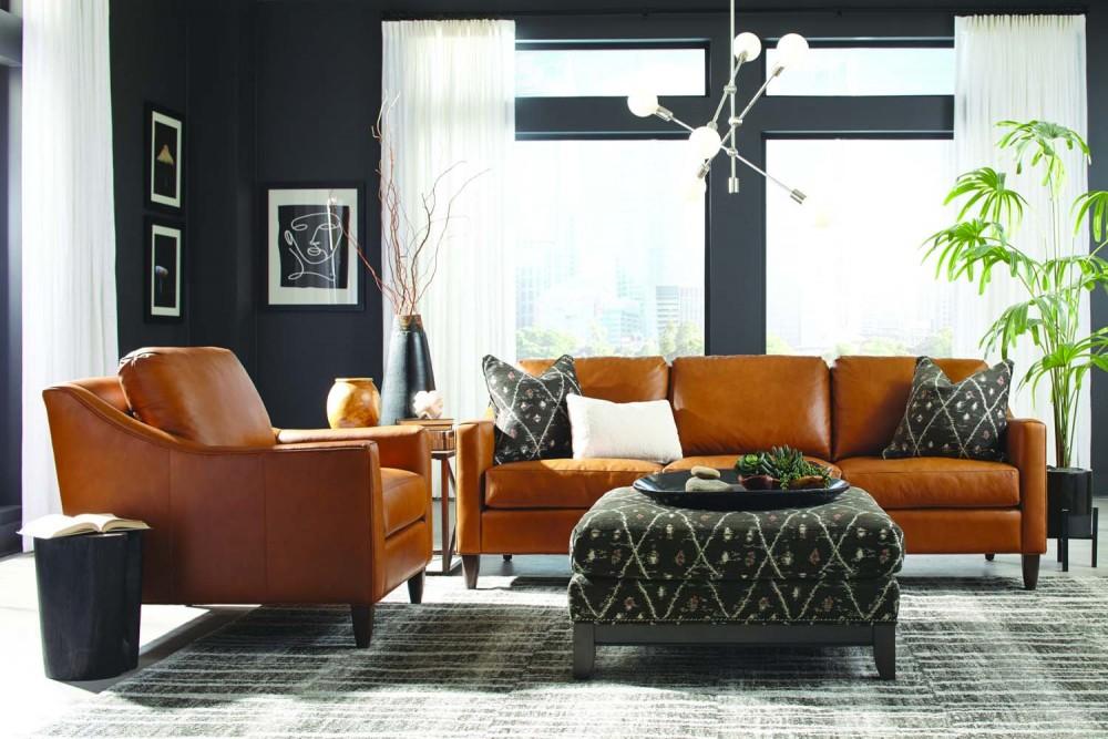 261 4k Leather Sofa Chair 238 Fabric Ottoman Roomscene 1